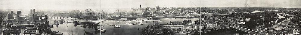 panoramic view of Saint Anthony Falls and the Mississippi riverfront in 1915