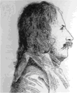 Profile of long-haired mustachioed man
