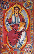 Robed in red, over a blue tunic, Christ, haloed in gold, is sat in centre-screen, holding a cross in his right hand and a book in his left. Miniatures in each corner show images such as an angel and a winged lion.