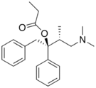 Chemical structure of Dextropropoxyphene.