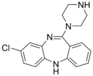 Chemical structure of N-Desmethylclozapine.