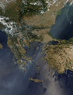 Photo of the Balkans taken from space showing wildfires