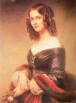 portrait, against blank pale background, of woman in late twenties, dark hair in ringlets, in dark silk dress with pelisse, holding a rose, three-quarters turned to viewer
