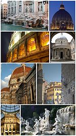 A collage of Italian architecture.