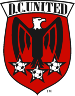 "A shield with stylized black eagle facing right on a red field under the words ""D.C. United"". Below the eagle are three white stars with soccer balls."