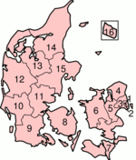 Map of Denmark showing the former counties