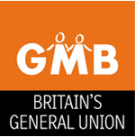 "White capital letters spell ""GMB"" on an orange background, where the ""M"" is used as the legs on two stick figures drawn with thinner lines. Below is the text ""Britain's General Union""."