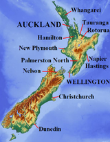 Map of New Zealand, with cities labelled