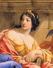 The painting of the muse Calliope in which she is holding a copy of the Odyssey.