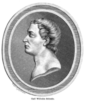 Profile drawing of a young men's head in an oval frame.