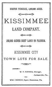 A black and white image of a land sale notice announcing 4 million acres (16,000 km2) purchased by Hamilton Disston; 20,000 acres (81 km2) are up for sale, specifically featuring town lots for sale