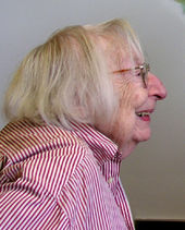 Face of a smiling elderly woman