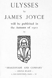 "Page saying 'ULYSSES by JAMES JOYCE will be published in the Autumn of 1921 by ""SHAKESPEARE AND COMPANY"" — SYLVIA BEACH — 8, RUE DUPUYTREN, PARIS — VIe'"