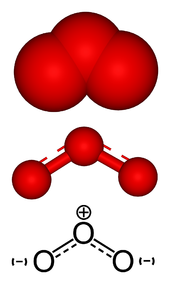Three presentations of a skeletal chemical zig-zag structure of three-oxygen molecule. Central atom is positively charged and end atoms are negatively charged.