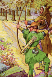 Drawing depicting Robin Hood, wearing Lincoln green clothing, and Sir Guy of Gisbourne, wearing brown furs, in a forest preparing to shoot with bows and arrows.