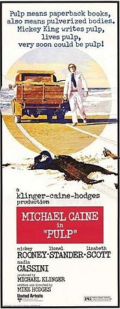 Movie poster with entire text in a typewriter-style typeface. A man wearing sunglasses, a white suit, and a blue tie walks forward. Behind him is a pickup truck, parked at the edge of a body of water. In the foreground lies the supine, apparently dead body of a dark-suited man, wearing a hat and sunglasses and holding a rifle in an outstretched hand.