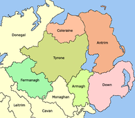 1584 - General boundaries of the counties of Ulster created by the Lord Deputy of Ireland Sir John Perrott.