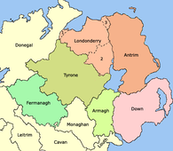 1613 - Ulster after the creation of County Londonderry, from the merger of County Coleraine, the North West Liberties of Londonderry (1), Loughinsholin (2), and North East Liberties of Coleraine (3).