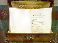 Copy of the Spanish Constitution displayed at the Palace of the Cortes.