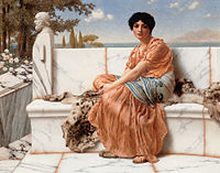 Painting of a woman dressed in Greek robes sitting on a marble bench with trees and water in the distance
