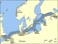 Principle trading routes of the Hanseatic League