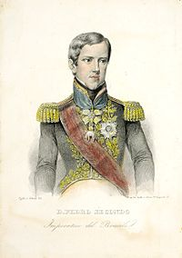 An engraving depicting a young, clean-shaven man with wavy hair and wearing a military-style embroidered tunic with epaulets, a sash across the chest, and medals on the breast and on a ribbon around his neck