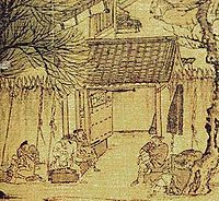 A small, square excerpt of painting showing a large open space enclosed by walls about twice the height of an adult. The walls are topped with large, pyramidal spikes. Several men sit in front of an open thick metal gate.