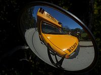The crossview mirrors allow drivers to see pedestrians and objects close to the front corners of the bus and in front of the bumper.