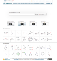 Startpage of chemicalize.org