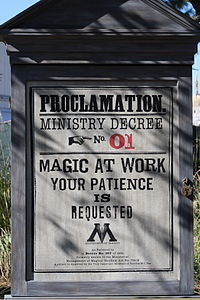 Themed billboards were located around the Wizarding World during the two year construction period.