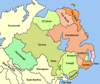 Early 16th century - General boundaries of lordships in Ulster.