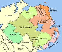 Later 15th century - Boundaries of counties and lordships (black border) and minor lordships (grey border) in Ulster.
