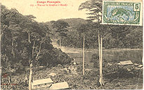 French Congo : View of the Konilou River at Mandji (Lastoursville), c. 1905.