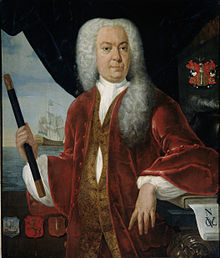 Adrian Valckenier, Governor General of the Dutch East Indies, in a large white wig and regal clothing, holding a pipe-shaped object