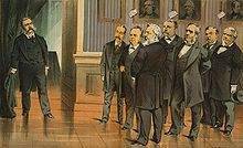 Drawing of a group of men looking at another man