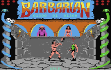"On the left and right of the screen stands a pillar entwined with a snake. Above them, in the top corners, are circles that represent the life points of the barbarian fighters.  A banner, emblazoned with the word ""Barbarian"", lies in the top centre.  The players' scores are displayed below the word.  The lower centre of the screen depicts a stone-walled room with two high windows.  In the left window, stands a bald man in purple robes.  In the right, a black haired busty woman in a red bikini.  In the room are two loincloth-wearing men who are fighting each other with swords.  The left man has chopped off the head of the right."