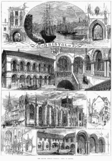 "An engraving showing at the top a sailing ship and paddle steamer in a harbour, with sheds and a church spire. On either side arched gateways, all above a scroll with the word ""Bristol"". Below a street scene showing pedestrians and a horse drawn carriage outside a large ornate building with a colonnade and arched windows above. A grand staircase with two figures ascending and other figures on a balcony. A caption reading ""Exterior, Colston Hall"" and Staircase, Colston Hall"". Below, two street scenes and a view of a large stone building with flying buttresses and a square tower, with the caption ""Bristol cathedral"". At the bottom views of a church interior, a cloister with a man mowing grass and archways with two men in conversation."