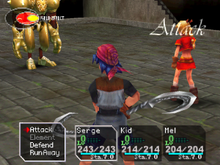 "Two characters in foreground in battle poise, menu with ""Attack"", ""Element"", ""Defend"", ""Run Away"", boxes with health statistics for characters ""Serge"", ""Kid"", and ""Mel"", stone floor, gold robotic enemy facing the characters"
