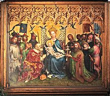 Rectangular central section of an altarpiece in the International Gothic style, showing the Three Kings adoring the Christ Child. The arrangement is formal, balanced and intricately detailed. The Virgin Mary, in a robe of brilliant blue sits enthroned with Jesus on her knee at the centre of the painting. The figures have a sweet, doll-like quality. On either side kneel the two older kings clothed in robes of patterned velvet, one green and the other crimson, with gifts of a golden box and a silver chalice. The youngest king stands behind one of the kneeling figures, and presents a container of semi-precious stone.
