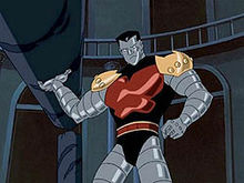 From X-Men: Evolution, Colossus in his armored from and hefting a large stone column as if it were a javelin.