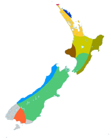 Map of New Zealand divided into multicoloured areas
