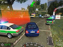 Screenshot showing a blue car progressing towards a red checkpoint circle, surrounded by green and whie police vehicles. An arrow points towards the checkpoint. There is statistical data around the outside of the screen, and a map in the top right corner.