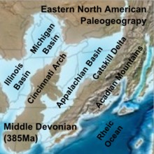 Map of north-eastern North America showing the Illinois Basin, the Michigan Basin and to the east, the Appalachian Basin.