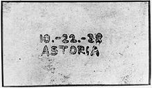 Astoria 10-22-38 (The first xerographic image)