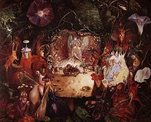 Fairy creatures having a banquet, surrounded by flowers and leaves.