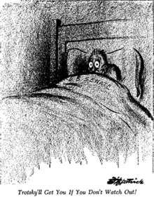 "A scared man, labeled ""SENATE"", cowering under his covers in bed"