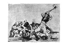 A civilian man holds a hatchet over his head, and is about to strike the heads of his kneeling captives, who are defeated soldiers in uniform.