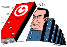 The cartoon depicts Egyptian President Hosni Mubarak as the next to fall after an uprising in Tunisia forced President Zine El Abidine Ben Ali to flee the country.