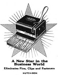 "machine with large handle; caption ""A New Star in the Business World"""