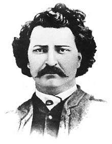 """A bust portrait of Métis leader Louis Riel c1870 after a carte de visite in 1884."""